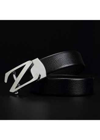 USA Silvery Solid Buckle Mens Leather Belt Black Ratchet Removable Dress Strap