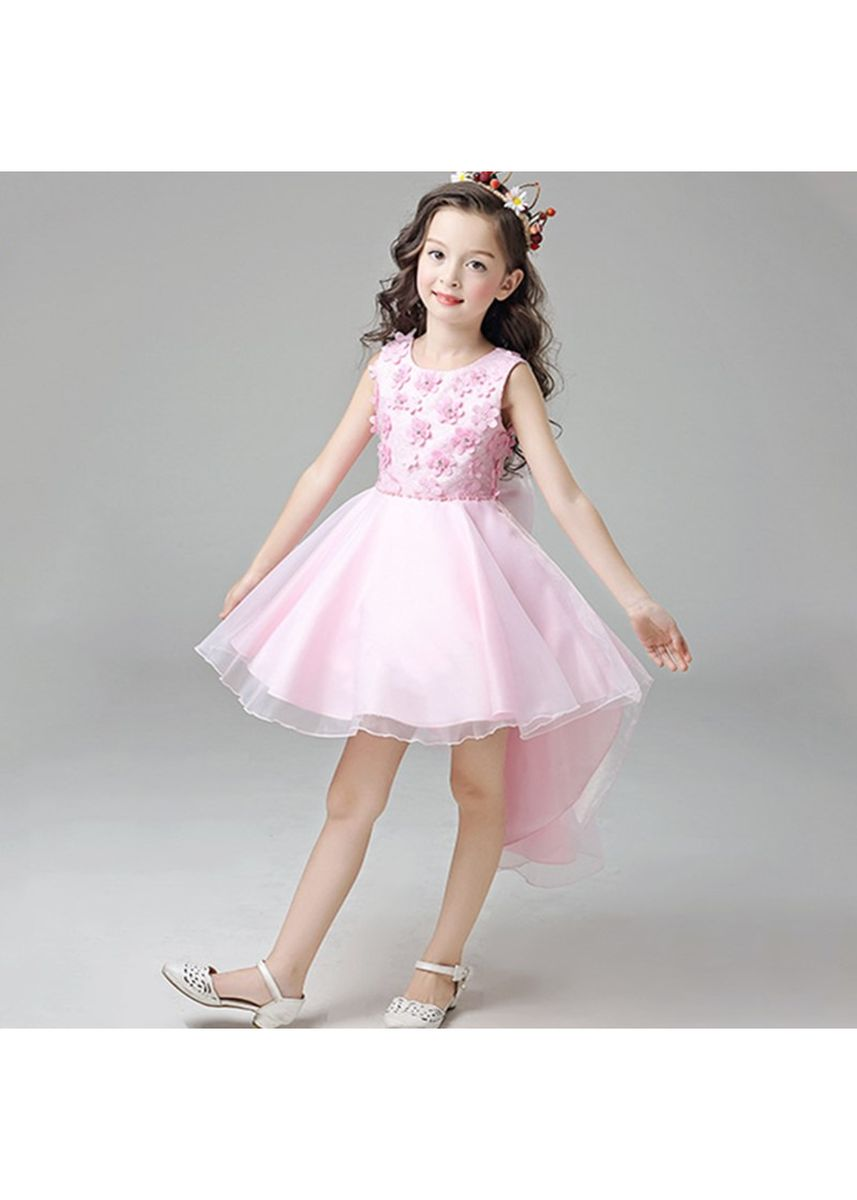 Pink color Dresses . Floral Embroidery Organza Tulle Flower Girl Dress -
