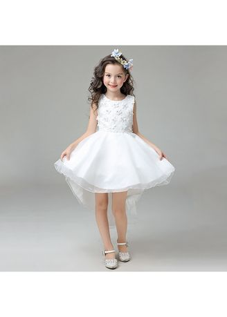 Dresses . Floral Embroidery Organza Tulle Flower Girl Dress -