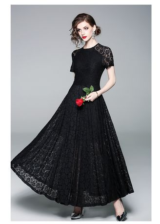 ดำ color เดรส . Round Collar Short Sleeve Large Pendulum Hollowed Out Lace Dress -