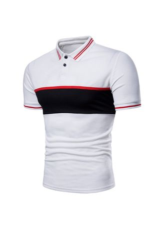 White color T-Shirts and Polos . Striped Short Sleeve Polo Shirt -