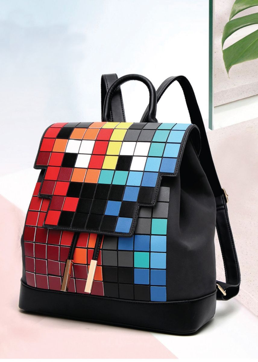 Black color Backpacks . Mosaic Japanese style backpack -