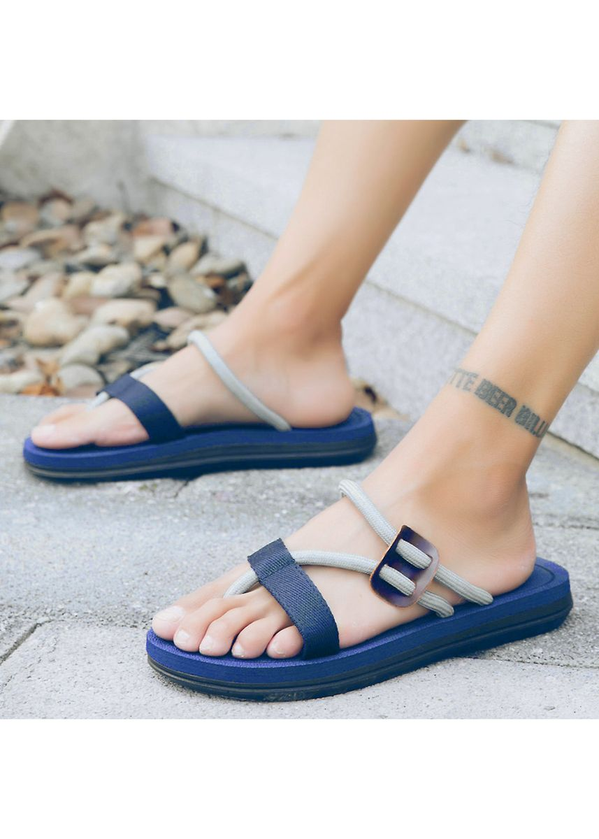 Blue color Sandals and Slippers . Fashion simple and wild weave couple slippers -