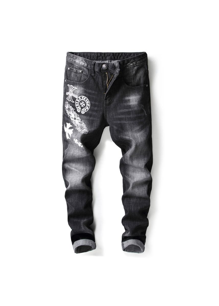 ดำ color ยีนส์ . Men's Slim Bullet-free Embroidered Jeans  -