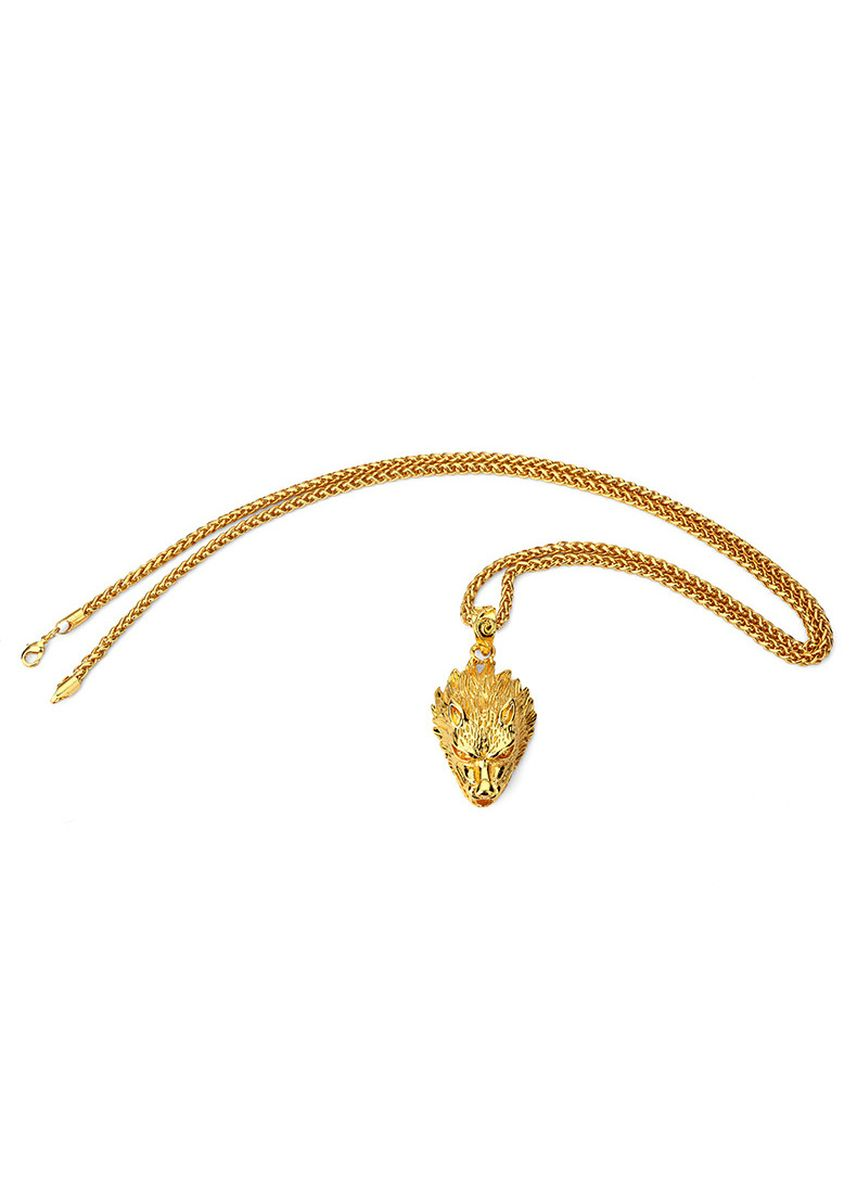 Gold color Necklaces . Mens 18K Goldplated Wolf Head Hip Hop Pendant Necklace -