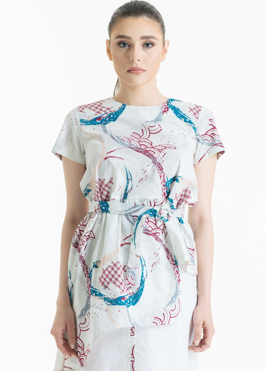 White color Tops and Tunics . Short Sleeve Cotton Print Blouse FL014C-SS18 -