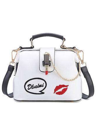 ขาว color กระเป๋าถือ . Korean lips pattern embroidered ladies bag -