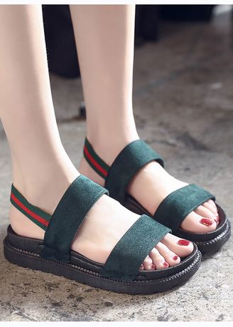 Green color Sandals and Slippers . Casual Thick Bottom Sandals -