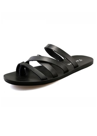 Black color Sandals and Slippers . Men's Casual Simple Thong Slippers -