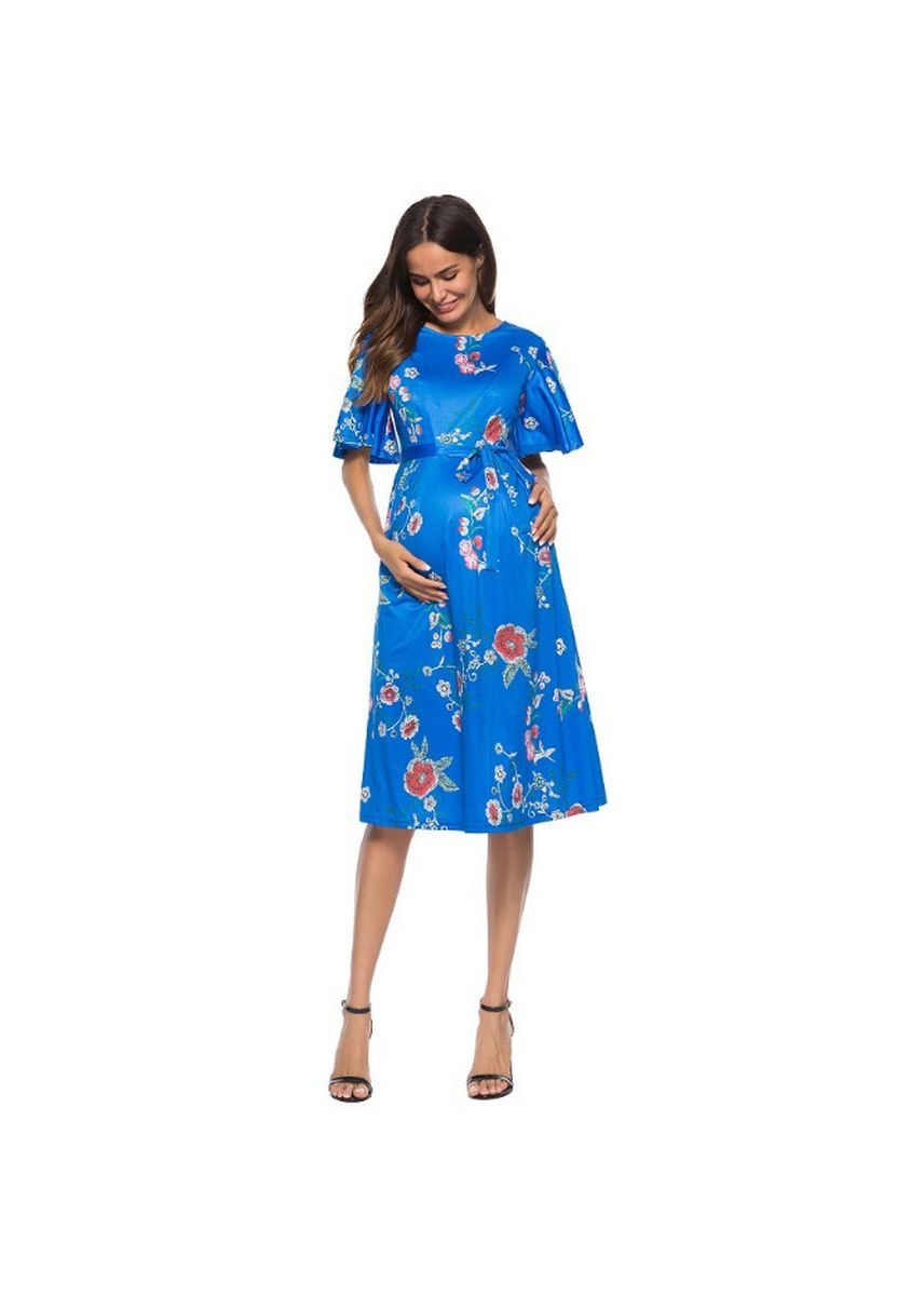Blue color Maternity Wear . Short sleeves Printed Maternity Dress -