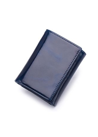 Blue color Wallets . Oil Wax Leather Men's Vertical  Wallet with zipper coin pocket  -