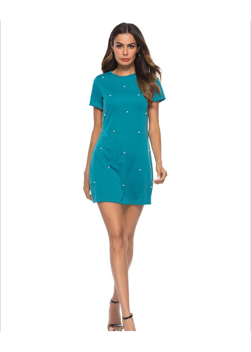 Cyan color Dresses . Round collar fashion short sleeved dress -
