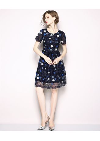 Navy color Dresses . Embroidered Small Flower Yarn Net a Line Dress -