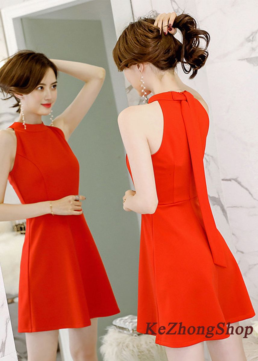 Red color Dresses . Pure Color Collar Stitching Sleeveless Dress -