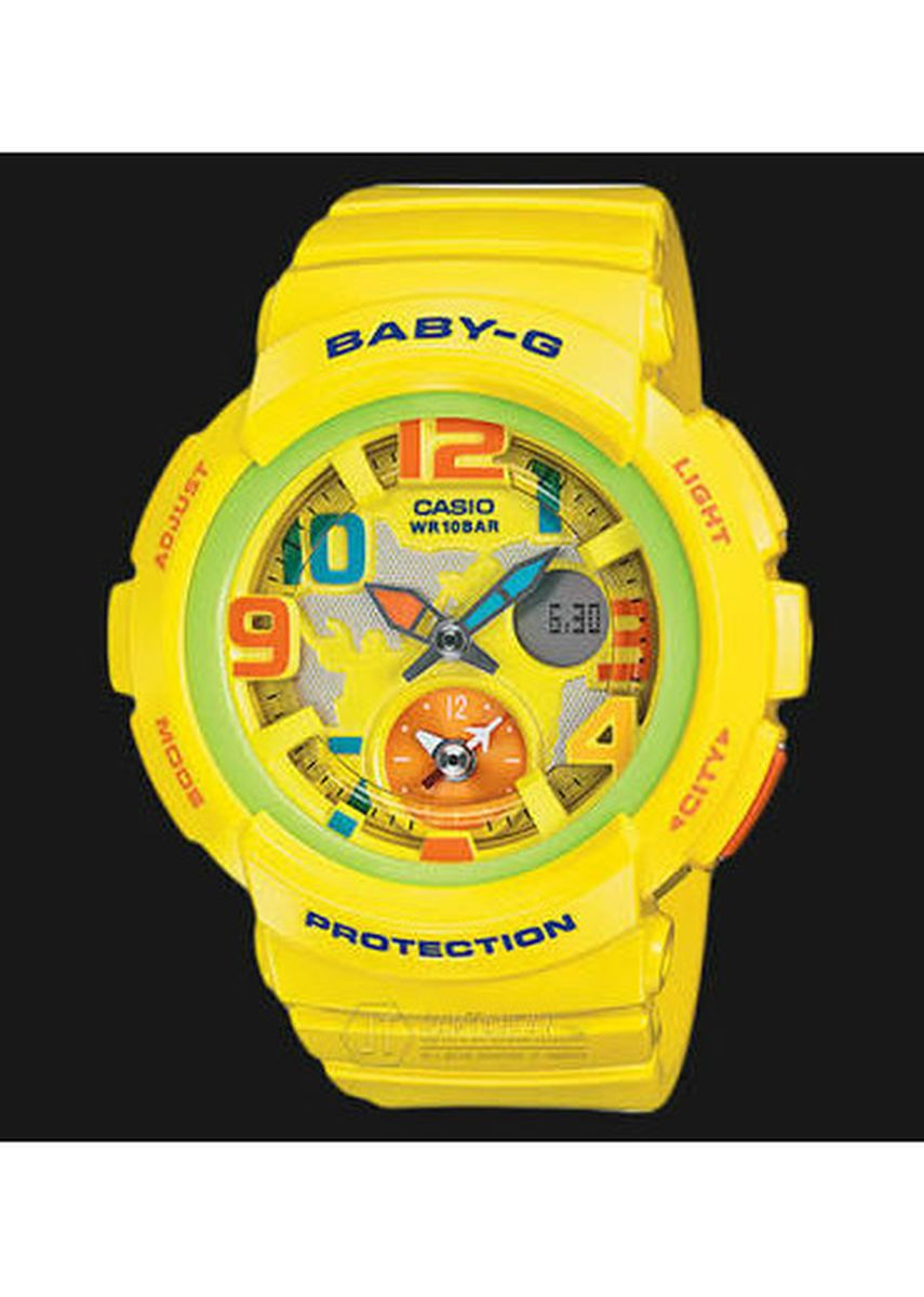 Yellow color Analog . Jam Tangan Casio Baby-G Original World Time BGA-190-9B Original -