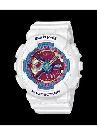 White color Analog . Jam Tangan Wanita Sports Casio Baby-G Dual Time Original BA-112-7A -