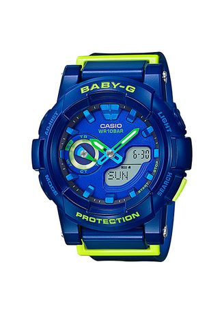 Biru Dongker color Jam Analog . Jam Tangan Wanita Sports Casio Baby-G Original BGA-185FS-2A Dual Time -