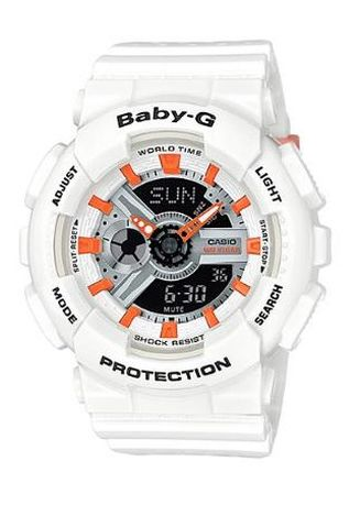 Putih color Jam Analog . Jam Tangan Wanita Sporty Dual Time Casio Baby-G Original BA-110PP-7A2 -