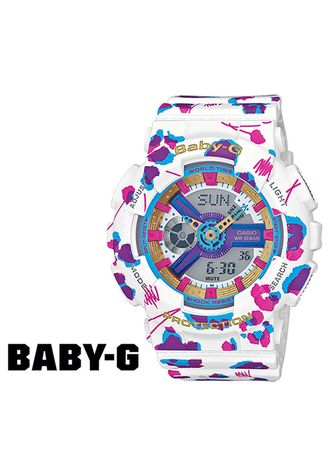 Putih color Jam Analog . Jam Tangan Ladies Sporty Casio Baby-G ORiginal Leopard BA-110FL-7A -