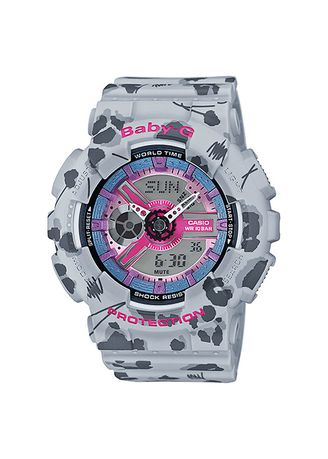 Grey color Analog . Promo !!  Casio Baby-G ORiginal Leopard BA-110FL-8A -