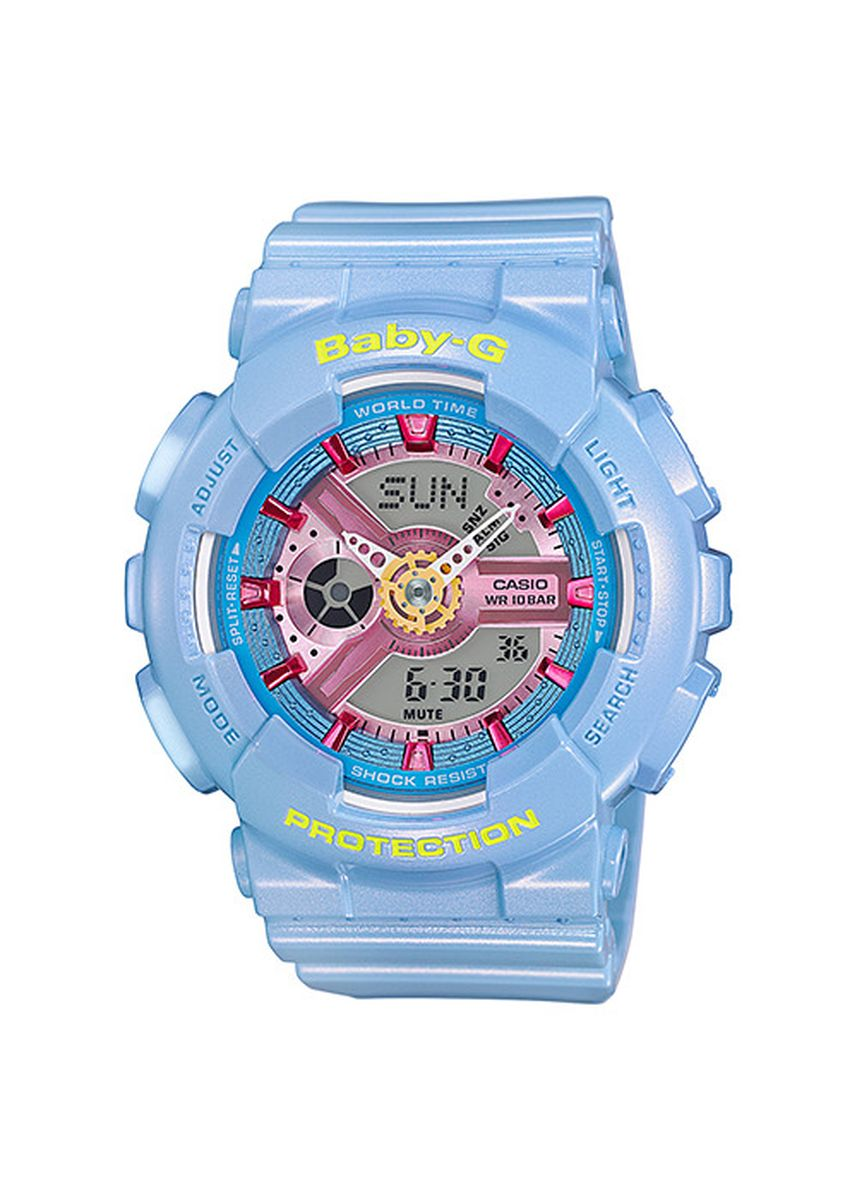 Light Blue color Analog . Jam Tangan Ladies Sporty Casio Baby-G ORiginal BA-110CA-2A Dual Time -