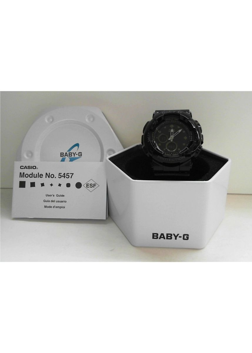 Hitam color Jam Analog . Jam Tangan Wanita Sport Casio Baby-G Original Dual World Time BA-125-1 -