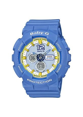 Biru Muda color Jam Analog . Jam Tangan Wanita Sport Casio Baby-G Original Dual World Time BA-120-2 -