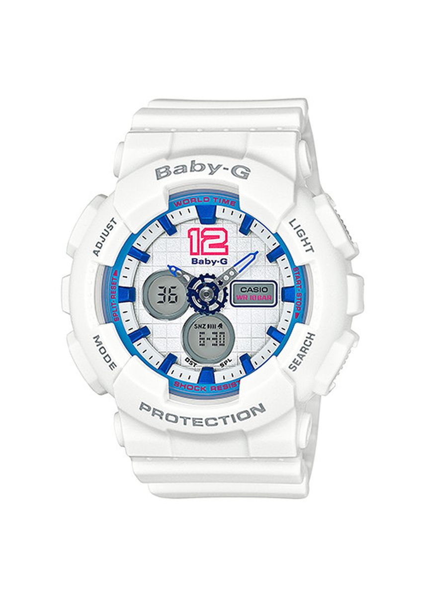 Putih color Jam Analog . Jam Tangan Wanita Sport Casio Baby-G Original Dual World Time BA-120-7 -