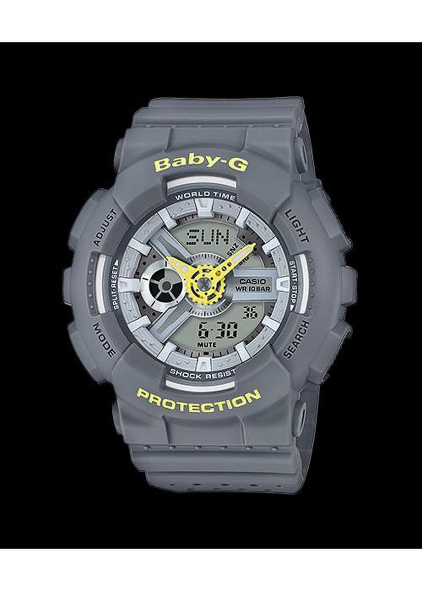 Grey color Analog . Jam Tangan Casio Baby-g Original Wanita Ba-110pp-8 sports watch ladies -