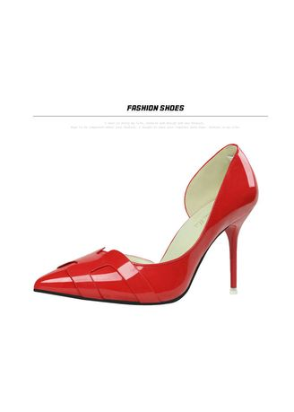 Red color Heels . Simple Slimy Thin High Heel Pumps -