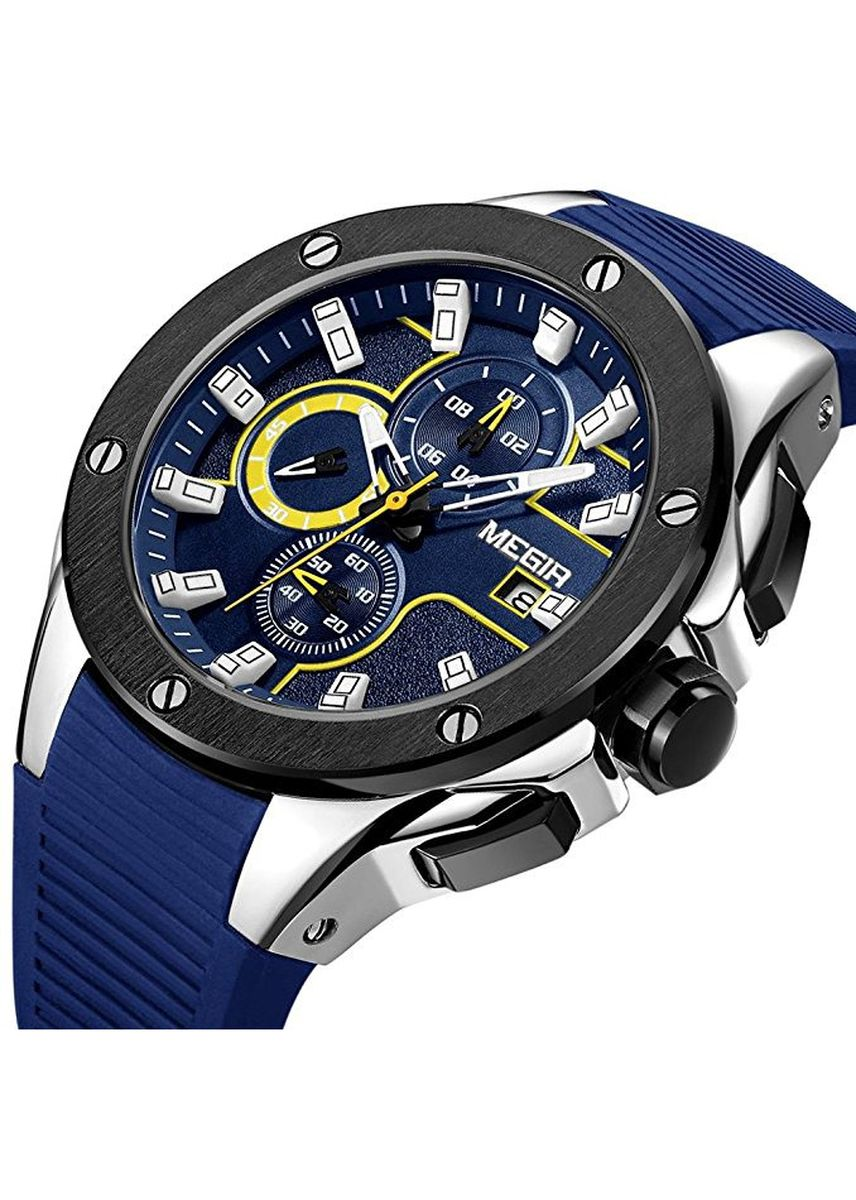 Blue color Chronographs . Quartz Watch for Men Casual Sport -