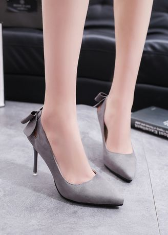 Grey color Heels . Shallow Mouth Pointed Suede Hollow Out Heels -