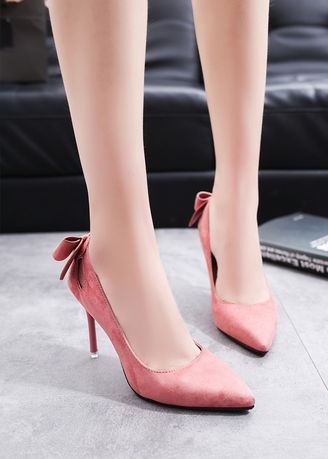 Pink color Heels . Shallow Mouth Pointed Suede Hollow Out Heels -