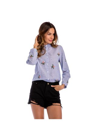 Blue color Tees & Shirts . Striped Embroidered Long Sleeved Shirt -