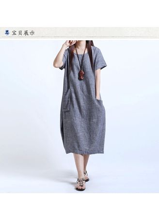 e8c184e381c Fashion Women Linen Pinafore Loose Linen Tunic Dress | Dresses ...