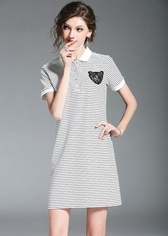 Dresses . Stripe Pockets Short Sleeve Mini Dresses -