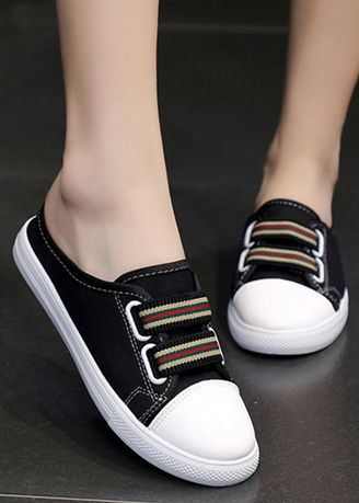 Black color Casual Shoes . Candy Color Canvas Round Head Lazy Shoes -
