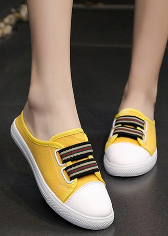 Yellow color Casual Shoes . Candy Color Canvas Round Head Lazy Shoes -