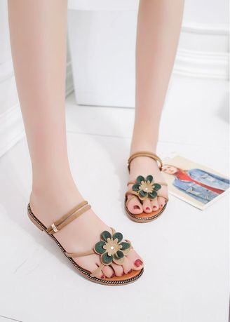 Khaki color Sandals and Slippers . Fashionable Joker Floral Sandals -