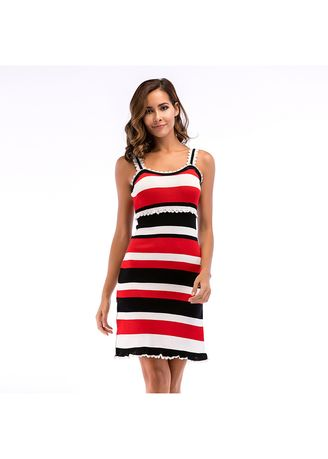 Multi color Dresses . Sling Stripe Tighten Pencil Dress -