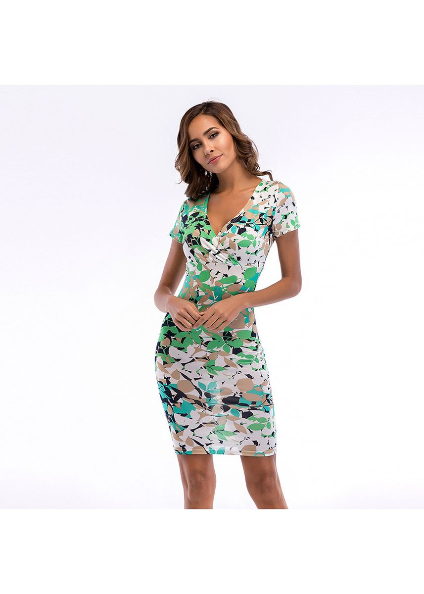 Green color Dresses . Fashion Sexy Printed Dress -