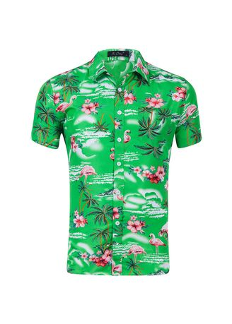 Green color Casual Shirts . Men's Printed Fashion Short Sleeve Shirt -