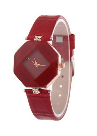 Red color Analog . Prismatic Mirror Strap Watch -