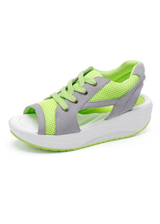 Green color Sandals and Slippers . Women's Summer Mesh Platform Fitness Sandals -