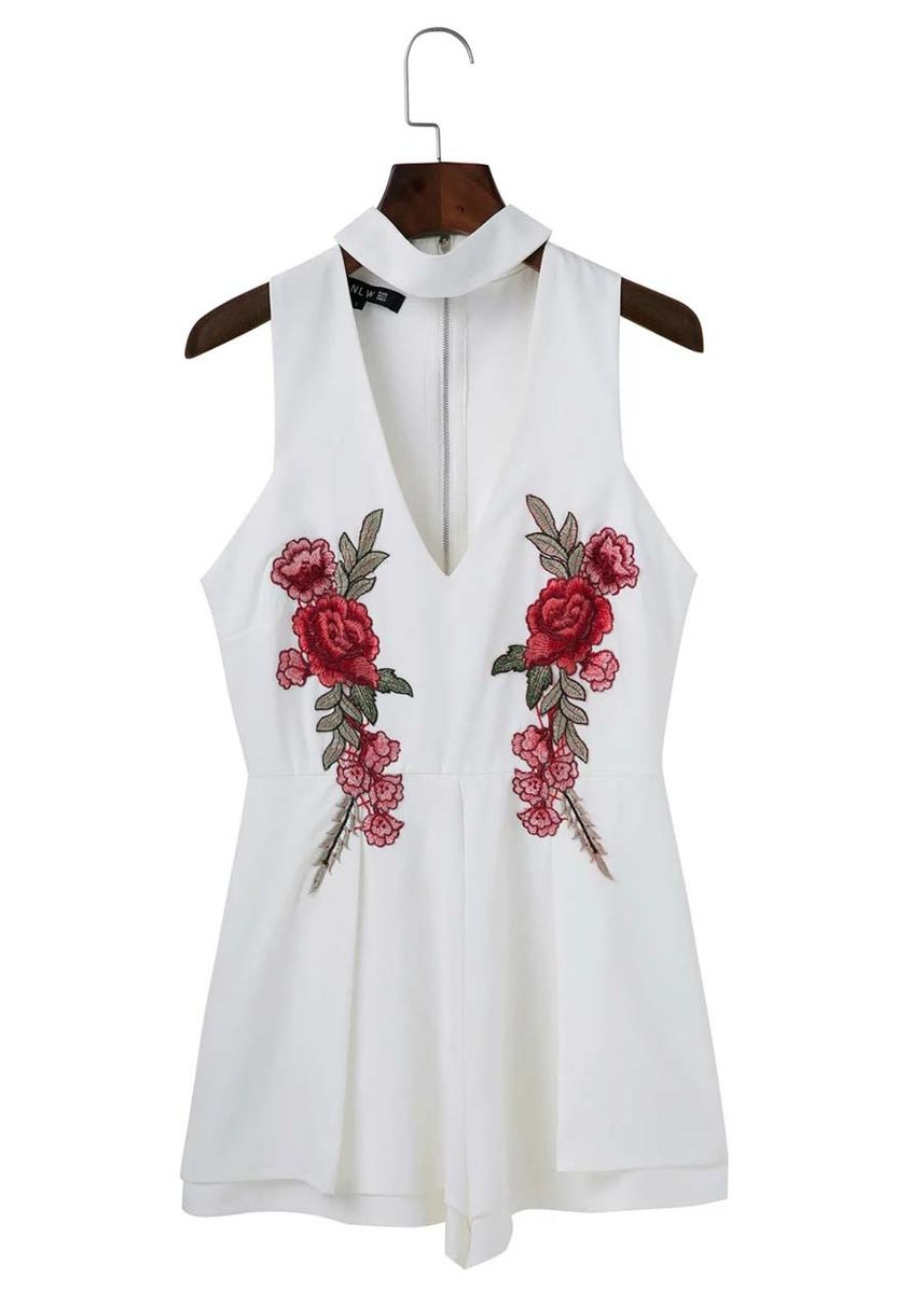White color Jump Suits . Embroidered Romper Women Jump Suit -