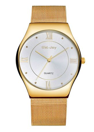 Gold color Analog . Men's Classic Barrel Type Dial Alloy Watch -