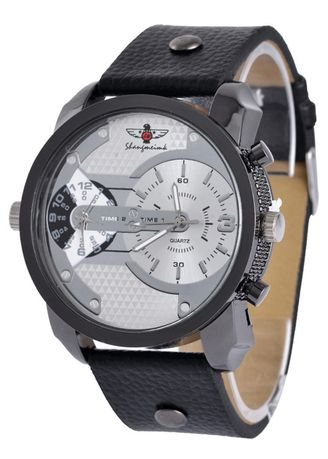 Black color Analog . Men's Bussines Two Places Time Display Leisure Rivet Watch -