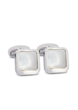 White color Cufflinks . MarZthomson Square Off-Centre White Mother Of Pearl Cufflinks -