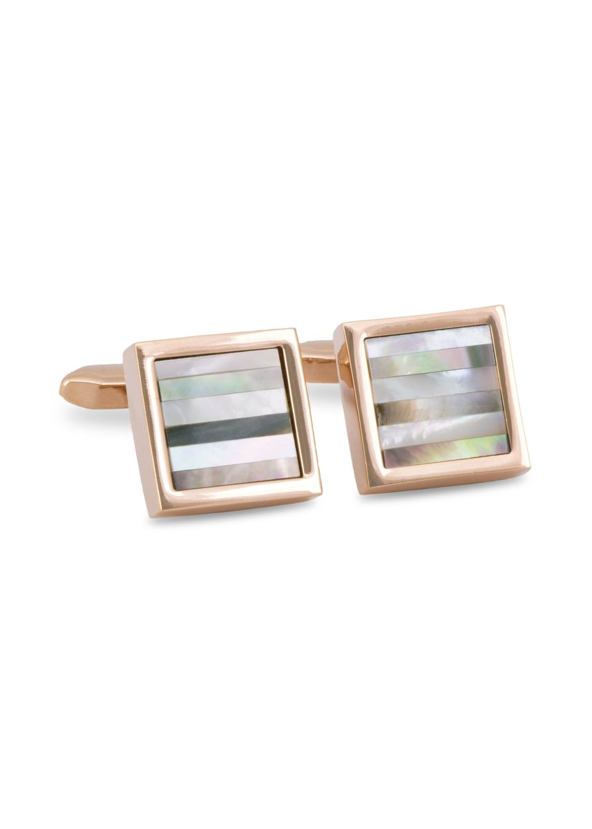 Pink color Cufflinks . MarZthomson Square Cufflinks With Horizontal Striped Mother Of Pearl -