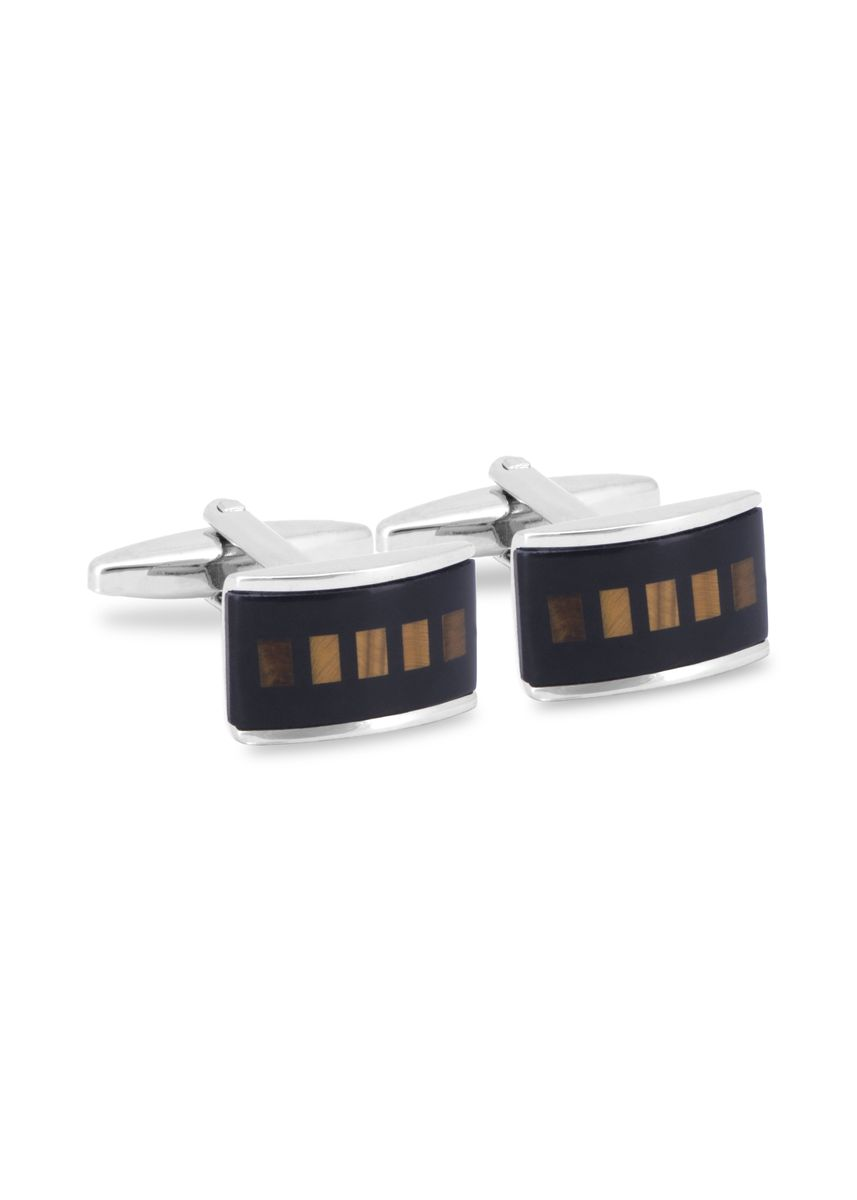 Black color Cufflinks . MarZthomson Rectangle Cufflinks With Tiger Eye Grid -